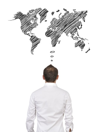 businessman dreaming at world map photo
