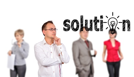 businessman looking solution and people on background photo