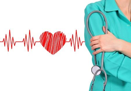 女性医師は、聴診器。クローズ アップ 写真素材
