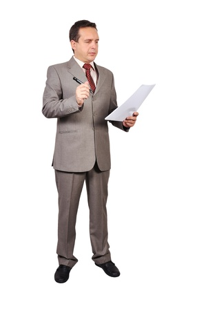 businessman with pen and paper in hand Stock Photo - 17498715