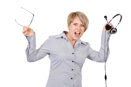 angry shouts into microphone businesswoman photo