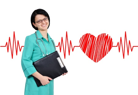 Portrait young female doctor and heartbeat photo