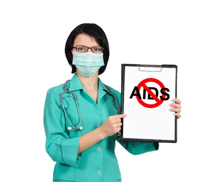 female doctor  holds clipboard with no aids sign photo