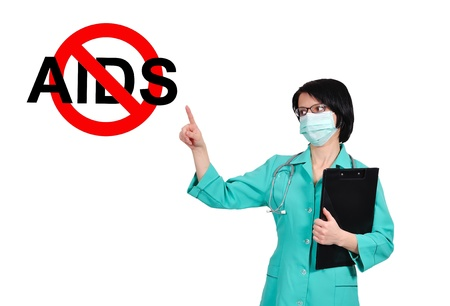 young female doctor pointing to no aids sign Stock Photo - 17498709