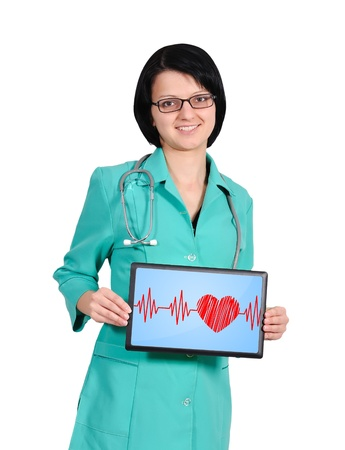 young female doctor with heartbeat on touchpad photo