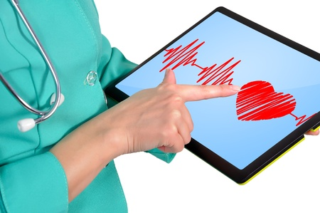 female doctor with heartbeat symbol on touchpad photo