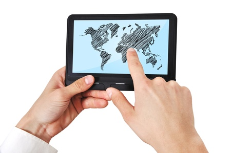 digital tablet with world map in hand Stock Photo - 17689753