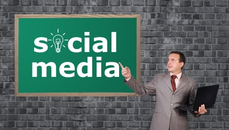 businessman and drawing social media on desk Stock Photo - 17576869