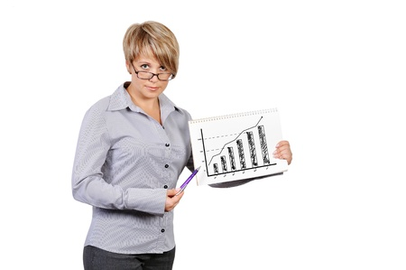 businesswoman holding poster with drawing  chart profit Stock Photo - 17601602
