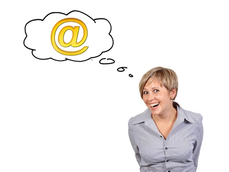funny girl dreaming mail on a white background Stock Photo - 17576865