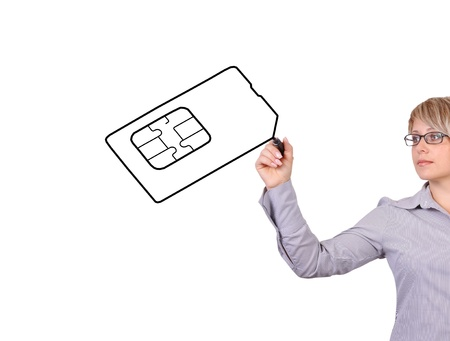businesswoman drawing simcard on a white background Stock Photo - 17576859