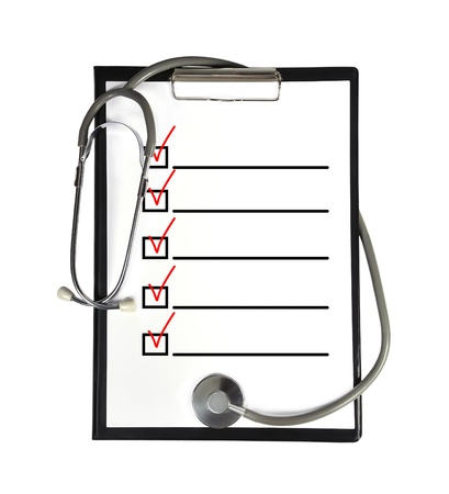 clipboard with checklist and stethoscope Standard-Bild