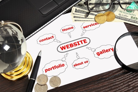 workplace with scheme website on table businessman photo