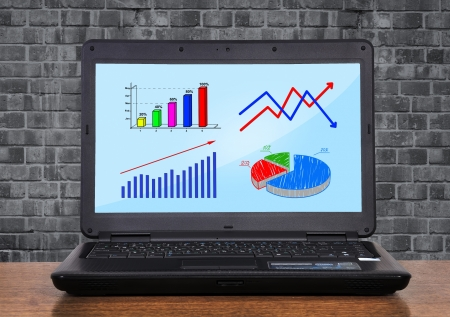 laptop with chart profit on monitor Stock Photo - 17689773