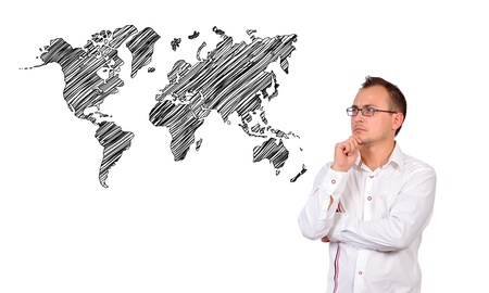 businessman looking to world map on white background Stock Photo - 17576860