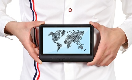 digital tablet with world map in hand Stock Photo - 17689885