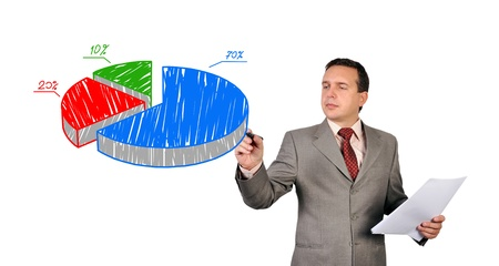 businessman drawing pie scheme of profits photo