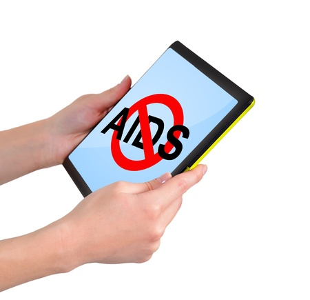 touchpad with no aids symbol in hand Stock Photo - 17689874