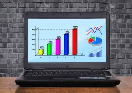 laptop with chart profit on monitor Stock Photo - 17689924