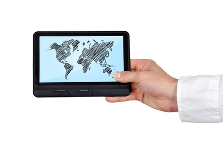 digital tablet with world map in hand Stock Photo - 17843915