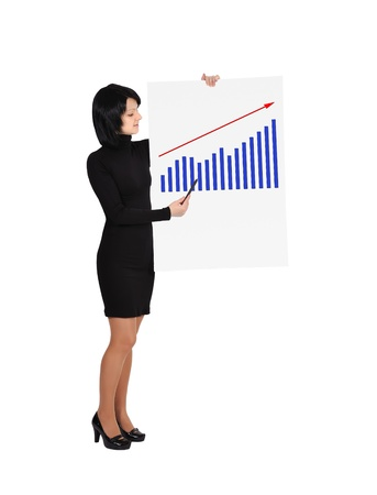 businesswoman holding billboard with business growth Stock Photo - 17825289