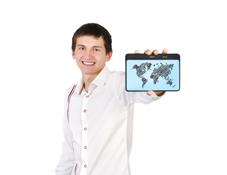 digital tablet with world map in hand photo