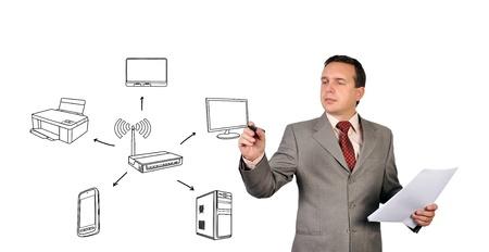 businessman drawing scheme wi-fi  on white background photo