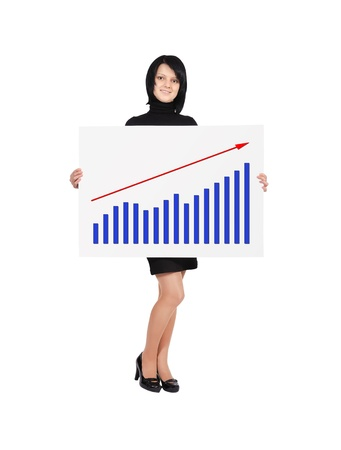 happy woman holding billboard with business growth Stock Photo - 17889342