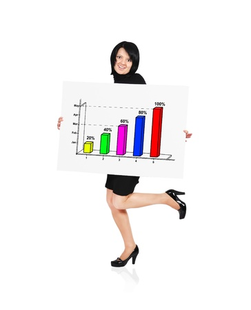 businesswoman holding billboard with business growth Stock Photo - 17889344