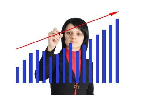 businesswoman drawing a graph on a glass window in an office Stock Photo - 17889452