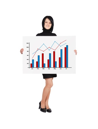 happy woman holding billboard with business growth Stock Photo - 18005834