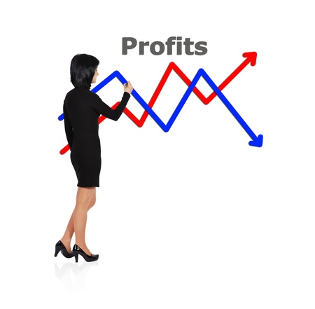 businesswoman drawing graph on a white background Stock Photo - 18005837