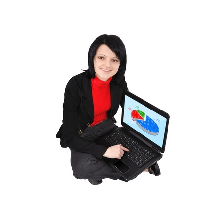 Young woman with laptop and pie chart on screen photo