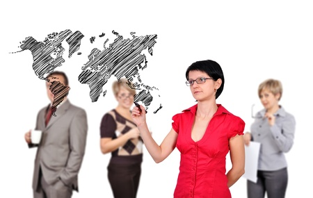 businesswoman drawing world map and businesspeople photo