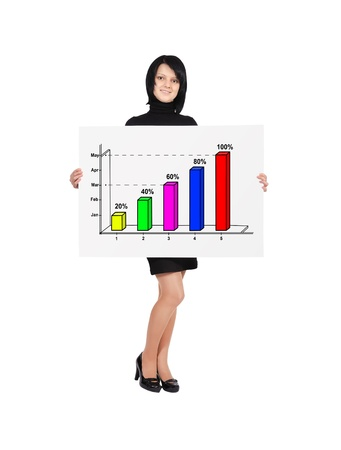 woman holding billboard with color growth chart Stock Photo - 18172224