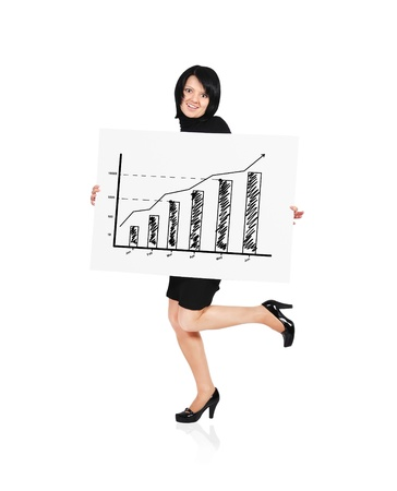happy woman holding billboard with business growth photo