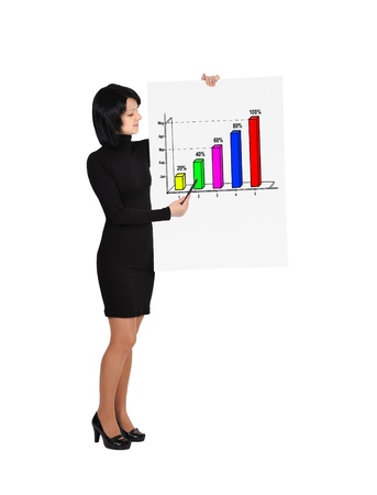 woman holding billboard with business growth photo