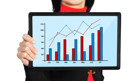 woman holding touch pad with profit chart photo