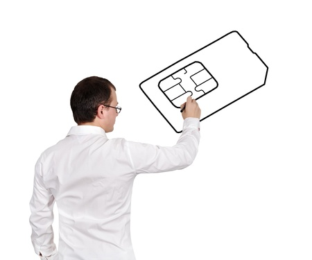 businessman drawing simcard on a white background photo