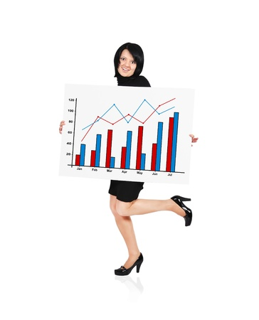 happy woman holding billboard with business growth Stock Photo - 18243085