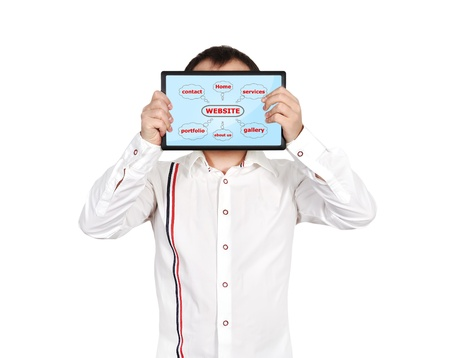 businessman holding touch pad with website scheme Stock Photo - 18243088