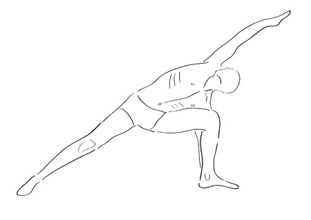 man practicing yoga in position Stock Vector - 18386059