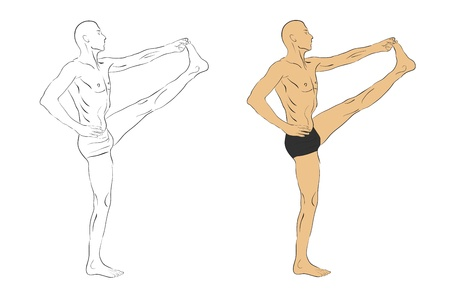 guru: guru practicing yoga in position Illustration