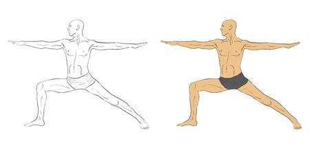 handsome bare-chested man doing yoga, illustration Stock Vector - 18630508