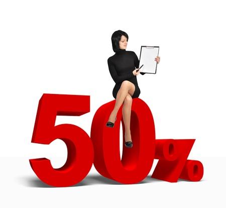 woman sitting on 50 percent symbol