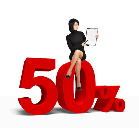 woman sitting on 50 percent symbol