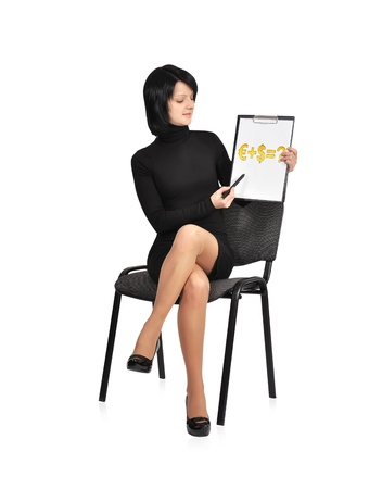 businesswoman sitting on chair with business formula on clipboard photo