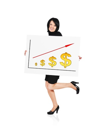 businesswoman holding billboard with  graph of the dollar photo