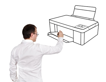 printer drawing: businessman drawing printer on a white background
