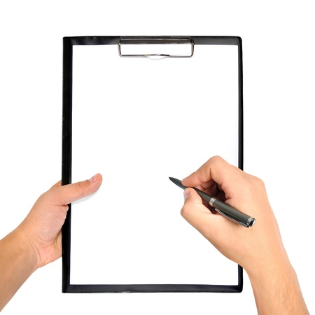 クリップボードを空白し、ペンを手に 写真素材